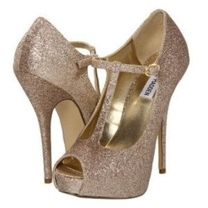 Steve Madden Gold Glitter Platform Peeptoe Heels